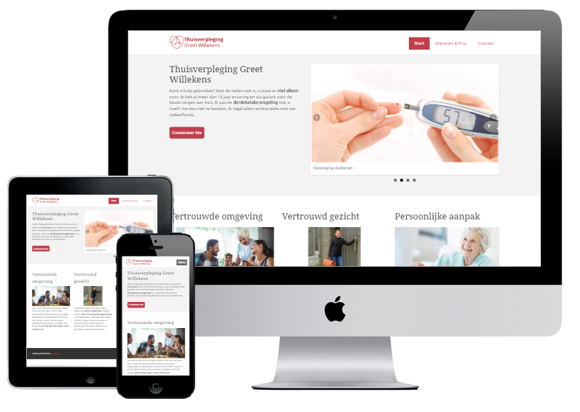 De website van greet, afgebeeld op verschillende toestellen